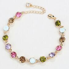 Pink Sapphire Austrian Crystal  White Gold Plated Adjustable Bracelet