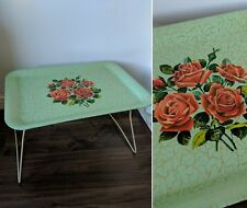 LOVELY vtg 1950s WORCESTER WARE GREEN RED ROSE FLORAL CAMPING TRAY TABLE 60s