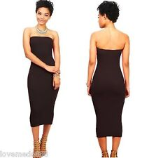 Casual Celebrity Cocktail Party Club Solid Strapless Bodycon Midi Dresses SMALL