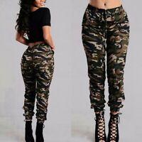 Mode Femme Camouflage Bande élastique Deux Poche Casuel en vrac Pantalon Plus