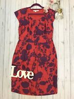 Boden Size 14 R red purple floral pure silk party occasion dress fitted VGC