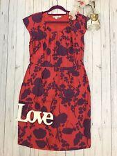 Vestido De Fiesta Boden Talla 14 R Rojo Púrpura Floral Ocasión De Seda Pura equipada en muy buena condición