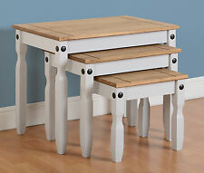 CORONA Nest of Tables in Grey & Distressed Waxed Pine - Next Day Delivery