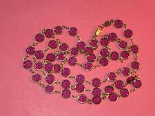 """Vintage Lavendar Austrian Crystal 34"""" Long Necklace ~ Gold Filled Frames"""