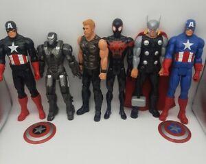 "Marvel & DC Comics 12"" Action Figure Lot of 6 Thor Captian America Spiderman +"