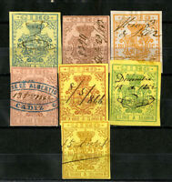 Spain Stamps Forbin 2-8 VF USED 1862 Business Tax Set Of 7+