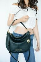 Michael Kors Bedford Medium Convertible Shoulder Hobo Pebbled Leather Bag Black