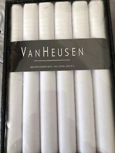 van heusen Men/'s Handkerchief Pack of 6 white colors 100/% cotton