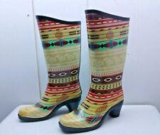 Pierre Dumas Aztec Red Green Rubber Tall  Heel Boot Rain Winter Women's Shoes 7M