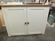 PAINTED LINEN STORAGE CUPBOARD BESPOKE SIZES & COLOURS IVORY - HONEY TOP