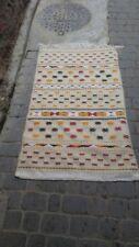 MOROCCAN BERBER RUG Beige Geometric Wool Flatweave HandWoven Arabic Kilim Entry