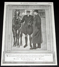 1911 OLD MAGAZINE PRINT AD, HART SCHAFFNER & MARX, HORSE RIDING CLOTHES, ART!