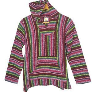 Sunspecs Mexican Baha Jacket Unisex Large Drug Rug Stripe Green Pink Hippie Hood