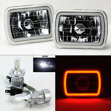 "7X6"" Clear Glass CCFL Red Halo Headlight Conversion w/ 6K 36W LED H4 Bulb Dodge"