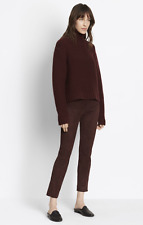 NWT VINCE Women's Raisin Slit Hem Stretch Suede Leather Crop Pants Sz XS $995.00