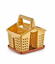 Beige Plastic 4 Compartment Sink Tidy Cutlery Drainer Caddy Organiser with Tray