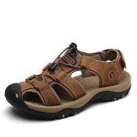 US Sz 5.5-12 Men's Hiking Sandals Genuine Leather Sandals Fisherman Beach Shoes