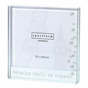 Spaceform Glass Miracles Photo Frame Newborn Baby Wedding Keepsake Gift Present