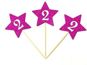 12 x Birthday Girl Second (2nd) Birthday Stars With Age Cup Cake Topper, Picks