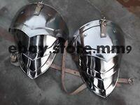 Larp fantasy medieval costume steel armour pauldrons Combatant Halloween