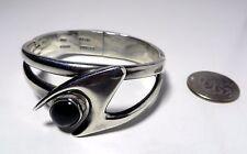 Vintage Modernist Sterling Silver Onyx Mexico Clamper Bangle Bracelet