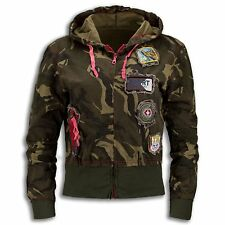NEW Women Ladies Long Sleeve Jacket Hooded Camo Zipper Aviator Patches ARMY