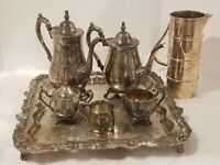 Oneida  antique Silver Plated Tea Set and Tray with Reed & Barton 867 baby cup.