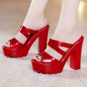 Womens High Chunky Heel Slippers Peep Toe Clubwear Platform Sandal Pumps outdoor