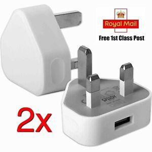 2x Mains Wall 3 Pin USB Plug Adaptor Charger Power USB Ports for iPhone Samsung
