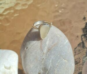 Handmade Seaglass white frosted  adjustable Ring