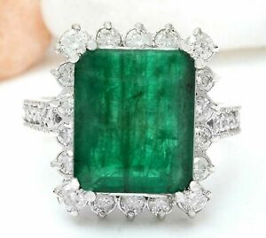 20.72 CT Emerald cut NATURAL Emerald REAL SOLID 14K White Gold Diamond Ring