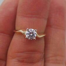 Stunning 14K Yg 5Mm Round Cz Engagement Ring Sz 5 Bb31261-1 2.25 grams