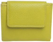 LEDER Geldbörse KOHLE limone 8,4x10,5x2cm 10 EC-Fä. Geldbeutel grün kiwi