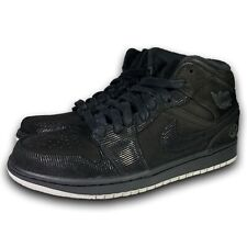 Nike Air Jordan 1 Mid Suit and Sneakers Black/White-Metallic 630767-045 Size 8