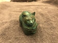 Vintage Reclining Cat Earring Box With Warm, Copper Patina