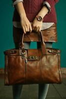 Rare! Fossil Vintage Reissue Whiskey Brown XL Weekender Tote Handbag Retired!