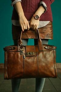 Rare! Fossil Vintage Reissue Whiskey Brown XL Weekender Tote Handbag Retired!