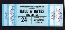 1979 Hall & Oates unused full concert ticket Austin Texas X-Static Wait For Me