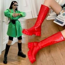 2020 Winter Womens Punk Casual Patent Leather Low Heel Mid-calf Boots Shoes