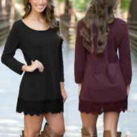 ZANZEA Women Long Sleeve Tunic Top Blouse Crochet Club Party Ladies Mini Dress