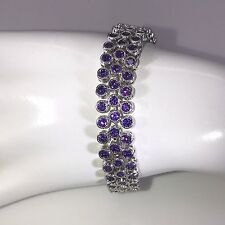 Stunning White Gold Plated 3 Row Created Amethyst Tennis Bracelet Purple