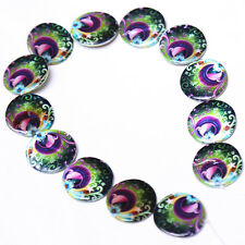 1x Lots Faux Shell Spacer Beads Findings 30mm Oblate Colorized Peacock Style J