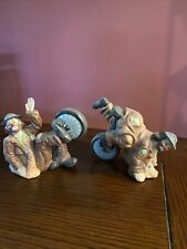 Emmett Kelly jr flambro collection - Set Of Two - Unicycles