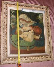 """Tableau / Huile sur toile d'après la """" Vierge au coussin vert """" + cadre bois"""