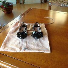 Miu Miu Black Patent Leather Bow Flats Sz 36