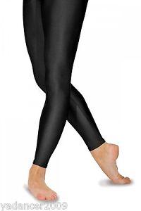 Roch Valley Footless Leggings Nylon Lycra Shiny Black-Dance Gymnastics Freestyle