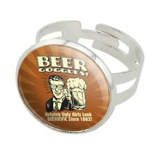 Beer Goggles Helping Ugly Girls Look Silver Plated Adjustable Novelty Ring