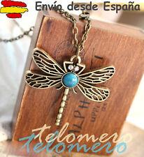 COLLAR colgante libelula con turquesa y diamantes de imitación necklace vintage