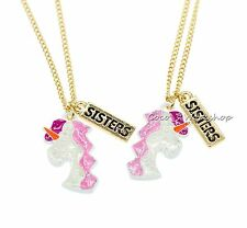 SPARKLING GOLD BFF SISTERS UNICORN NECKLACE PENDANT 2 IN 1 SET GIRLS XMAS GIFT