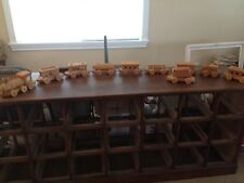 Vintage Solid Oak Wood Railroad Train Set  Engine & 9 Cars  Almost 8FT Long WOW!